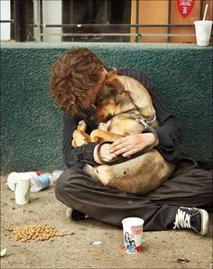 Homeless , dog, animal friends, hug, street