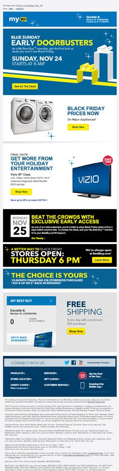 Best Buy holiday email 2013 pre-black friday