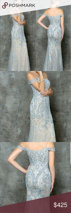 New with Tags Size 2 Formal Light French Grey Lace NWT: Gorgeous fits true to size Light French Grey Lace & Tulle Gown with Champagne Lining. Beads, Sequin embellished. Stunning Classic. Straps can be worn several ways. BOTH as drop shoulder, or both upon the shoulder, or one up & one down on the shoulder. Classic Flattering style! Professional photos make this gown look light blue but it is definitely Light Grey. Please see non-professional photos to depict true color. Fabric is set next to…