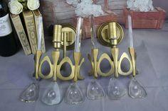 PAIR Italian Gaetano SCIOLARI Metal brass gold gilt Crystal wall sconces 70's