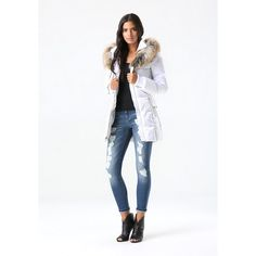 Lace Up Puffer Coat ($229) ❤ liked on Polyvore featuring outerwear, coats, bebe coats, faux fur lined coat, white coat, white puffy coat and white puffer coat