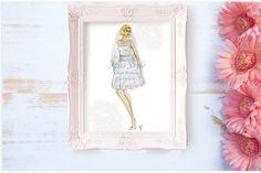 Short Pois, custom bride illustration, bridal portrait, fashion print, art, digital download, gift idea, wedding drawing.