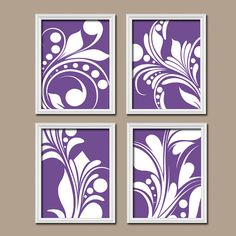 Colorful Bold Swirl Flourish Design Purple White Artwork Set of 4 Prints Bedroom WALL Decor ART Pictures Bathroom