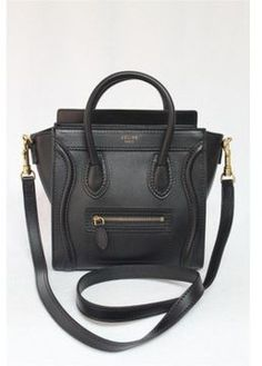 pristine (PR) Celine 2013 Black Smooth Nano Luggage Leather Messenger Bag on shopstyle.com