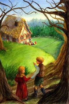 Gloria Lapuyade Scott Hansel et Gretel Nocturne, Hansel Y Gretel, Artistic Visions, Some Beautiful Pictures, Brothers Grimm, Cottage Art, Vintage Children's Books, Art Plastique, Art Tutorials