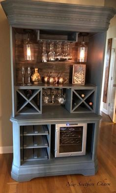 Custom Armoire Bar Cabinet, Coffee Station, Wine Cabinet, Rustic Bar, Repurposed Armiore Cabinet Coffee Bar Ideas For Your Home Refurbished Furniture, Repurposed Furniture, Furniture Makeover, Painted Furniture, Armoire Makeover, Diy Furniture Repurpose, Furniture Removal, Rustic Furniture, Refurbished Cabinets