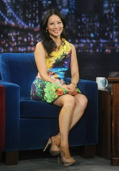 Pin for Later: Hail Mary! The Celebrities Who're Crazy For Katrantzou Lucy Liu went bold in a Mary Katrantzou fishbowl dress for an appearance on Late Night With Jimmy Fallon.