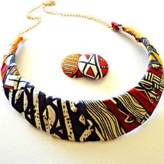 African Fabric Bib Necklace Jewelry Set, from KheperaAdornments