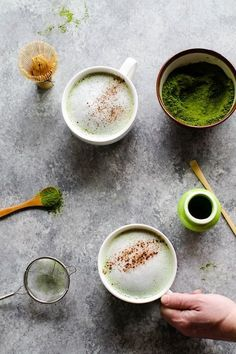 Cinnamon Almond Matcha Latte. Would be great to add adaptogens to or make iced!