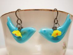 Turquoise Aqua Blue Porcelain Bird Sparrow Earrings Dangles with Rare Vintage Yellow Glass Flowers Bridal Wedding Shabby Chic Nature on Etsy, $18.95
