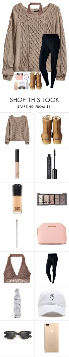Illuminate is perfection by lovemyariana ❤ liked on Polyvore featuring HM, UGG Australia, NARS Cosmetics, Urban Decay, MAC Cosmetics, MICHAEL Michael Kors, NIKE, Swell and Ray-Ban
