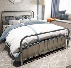 TEMMER Metal Bed Frame Queen Size with Headboard and Footboard Single Platform Mattress Base,Metal Tube and Iron-Art Bed(Queen,Gray Silver) Platform Bed With Storage, Metal Platform Bed, Modern Platform Bed, Metal Bed Frame Queen, Metal Beds, Queen Size Headboard, Headboard And Footboard, Headboards, Modern King Bedroom Sets