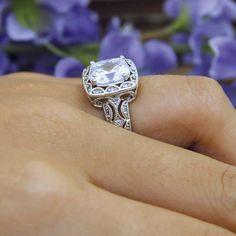 3.30 ct Art Deco Engagement Ring-Cushion Cut Diamond by Besbelle