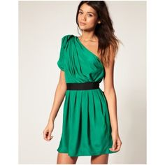 Asos Green Pleated One Shoulder Cocktail Dress Asos Collection Green One Should Drape Pleated Dress. Dress comes like the picture with model. Comes with a black ribbon belt (not shown in photo of dress to accentuate pleating). Beautiful dress for the perfect occasion, like a wedding. Only wore once. Cleaned. Like new condition. ASOS Dresses One Shoulder