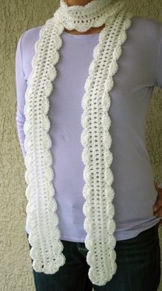 Scalloped edge crochet skinny scarf