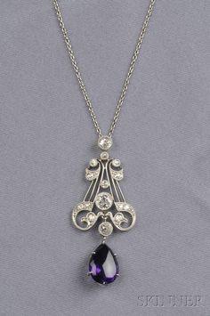 Art Deco Amethyst and Diamond Pendant | Sale Number 2539B, Lot Number 670 | Skinner Auctioneers