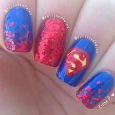 I asked you guys a week ago what I should put overtop of the blue, and a few people said superman so here they are I really like these! Oh and I have square nails again Nail Art Diy, Easy Nail Art, Diy Nails, Cute Nails, Pretty Nails, Funky Nails, Superman Nails, Superhero Nails, Orange Nail Designs