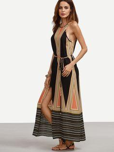Shop Multicolor Print Spaghetti Strap Tie Waist Split Dress online. SheIn offers Multicolor Print Spaghetti Strap Tie Waist Split Dress & more to fit your…
