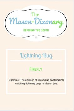 Southern Charm ~ Mason-Dixonary: Lightning Bug