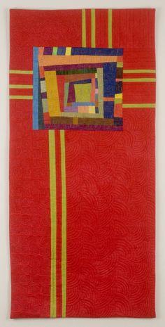 """Red Totem""--art quilt by Cindy Grisdela  great glass design!"