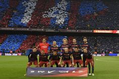 "Barcelona's players pose before the Spanish league ""Clasico"" football match FC Barcelona vs Real Madrid CF at the Camp Nou stadium in Barcelona on April 2, 2016."