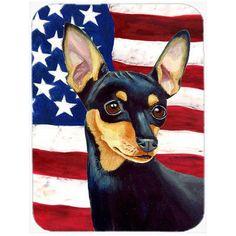 Caroline's Treasures Patriotic USA American Flag with Min Pin Glass Cutting Board
