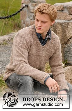 Ravelry: 135-39 Twilight - Jumper for men with yoke in seed st in Lima pattern by DROPS design