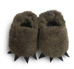 Furry Monster Soft First Walker Slipper Shoes- Hunter Green