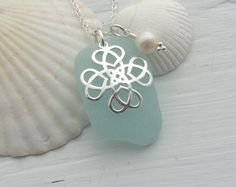 Scottish Sea Glass and Sterling Silver Heart Celtic Knot Necklace - ENTWINED £26.00