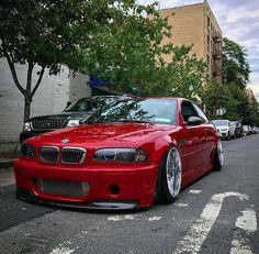 BMW E46 M3 red slammed