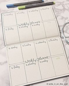 Bullet Journal Weekly Log idea. Instagram photo by @write_it_on_the_wall