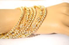 Beautiful Gold Tone Diamante Bollywood Indian Bangle by bjewel78