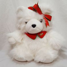 Large fluffy teddy bear with a ribbon on her head. Pet Toys, Doll Toys, Fluffy Teddy Bear, Vintage Teddy Bears, Stuffed Animals, Plush, Bows, Christmas, Holiday