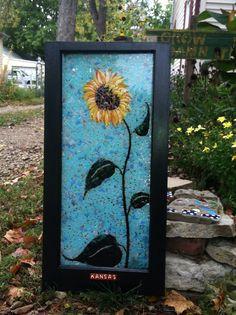 Epic Sunflower #2 Mosaic Crafts, Mosaic Art, Mosaic Glass, Mosaics, Glass Art, Mosaic Windows, Stained Glass Windows, Flower Ideas, Sunflowers