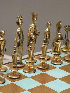"""Beautiful atomic era brass """"doll-like"""" chess set."""