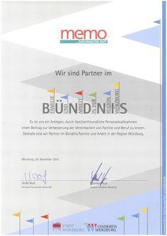 2012 tritt die #memo_AG dem #Bündnis für #Familie und #Arbeit (Region #Würzburg) bei. Mehr: | In 2012, memo corporation gets partner of the association for #work and #family in the region. More: http://on.fb.me/1S5z2TN