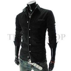 Slim Fit Long Sleeve Pattern Patched Stretchy Shirts