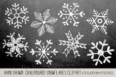 Check out Hand Drawn Chalky Snowflake Clipart by Colors on Paper on Creative… Winter Christmas, Christmas Time, Christmas Crafts, Christmas Decorations, Xmas, Italian Christmas, Christmas Ornaments, Chalkboard Designs, Chalkboard Art