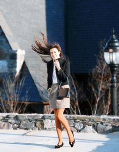 Classy Girls Wear Pearls: Blustery Day Wind Charmer {Notice the ruffled button down; super cute skirt}