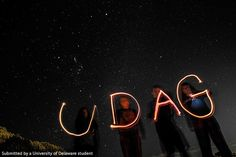 #BlueHens creating light painting under the stars in Lincoln, New Zealand. Photo by Brian Griffiths #UDAbroad