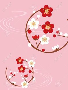 Illustration of circle with plum blossom vector art, clipart and stock vectors. Chinese New Year Greeting, Chinese New Year 2020, Small Japanese Tattoo, Cherry Blossom Vector, Chinese Paper Cutting, Dragon Dance, Traditional Japanese Art, Japanese Flowers, Banner Printing