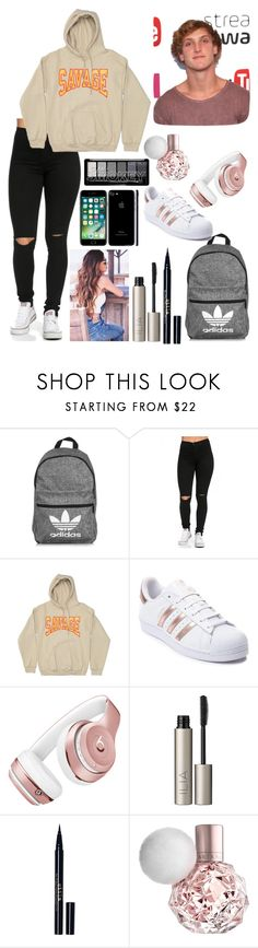 """""""flight to paris with logan paul"""" by adrianalodu ❤ liked on Polyvore featuring adidas, Beats by Dr. Dre, Ilia and Stila"""