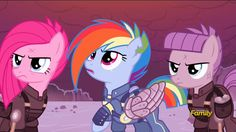 Crystal War Rainbow Dash, Crystal War Pinkie and Crystal War Maud.ok please tell me I'm not the only one who absolutely LOVED rd's look?