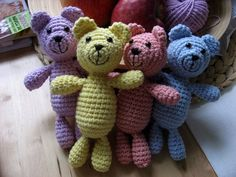 4 crochet little bears Bears, Dinosaur Stuffed Animal, Toys, Crochet, Animals, Activity Toys, Animales, Animaux, Toy