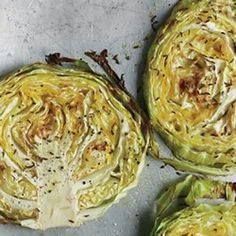 "I have been on a cabbage kick lately... I definitely HAVE to try these ""Garlic Rubbed Roasted Cabbage Steaks"""