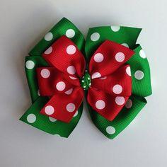 Red Green Layered Polka Dot Christmas Pinwheel Bow by KatiebugBows, $6.00