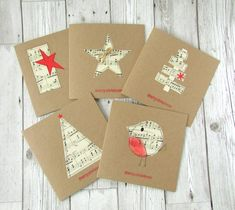 · A set of 5 hand made Christmas cards featuring real sheet music on recycled kraft card. There are 5 designs included in the set of Robin, 2 star designs and 2 tree designs. All the designs are hand… Homemade Christmas Cards, Christmas Cards To Make, Christmas Gift Tags, Homemade Cards, Christmas Crafts, Christmas Decorations, Christmas Music, Recycled Christmas Cards, Xmas Cards Handmade