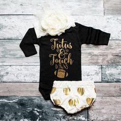 Baby Girl Clothes Tutus & Touchdowns Shirt Glitter Shirt Football Shirt Baby Shower Gift Bodysuit Baby Girl Shirt #15 by ShopVivaLaGlitter on Etsy https://www.etsy.com/listing/253075932/baby-girl-clothes-tutus-touchdowns-shirt