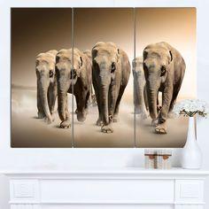 Designart 'Walking Herd of Elephants' Animal Art on Canvas