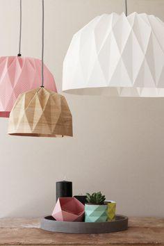 Large Origami Lamp Pink Hanging Lampshade by TweelingenHomeDecor